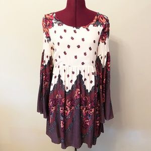 Free People | Floral Bell Sleeve Open Back Dress